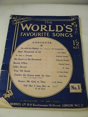 Antique 1916 The World's Favourite Songs No 1 - A Magazine of Melody. Song book