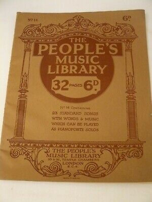 Vintage c1920s the People's Music Library No 14 sheet music booklet. 23 songs
