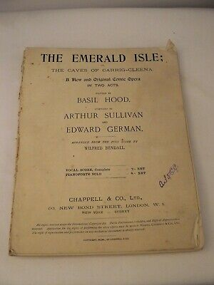 1901 The Emerald Isle; The Caves of Carrig-Cleena Comic Opera Music score 2 acts
