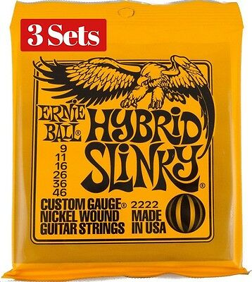 3 X Sets Ernie Ball Hybrid Slinky Nickel Wound 009 046 Electric Guitar Strings  • 19.99£