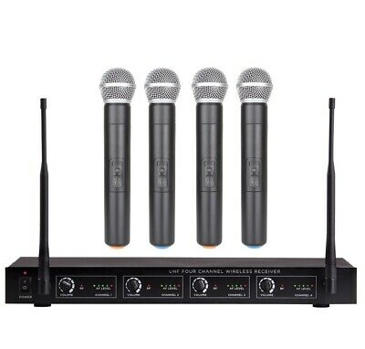 Professional UHF 4 Channel Wireless Microphone System 4 Handheld Microphone Set • 133.93£