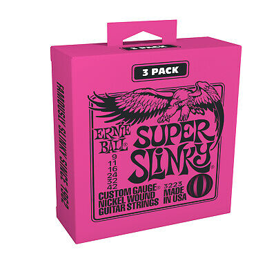3 Ernie Ball 2223 Super Slinky 3 Pack Sets Electric Guitar Strings (9-42) 3223  • 10.73£