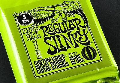 3 Pack Of Ernie Ball Regular Slinky 10-46 3221 2221 Electric Guitar Strings • 18.10£