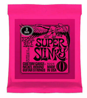 3 Sets Of Ernie Ball Super Slinky 9-42 2223 3223 Electric Guitar Strings • 19.51£