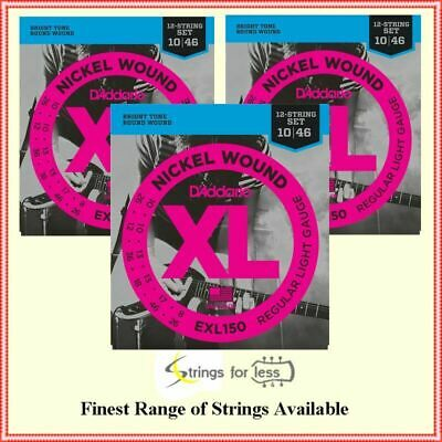 3 X D'Addario EXL150 Nickel Wound Light 12-String Electric Guitar Strings 10-46  • 25.34£