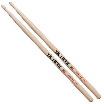Vic Firth Hickory American Classic Drumsticks - 5B - Wood Tip • 11.99£