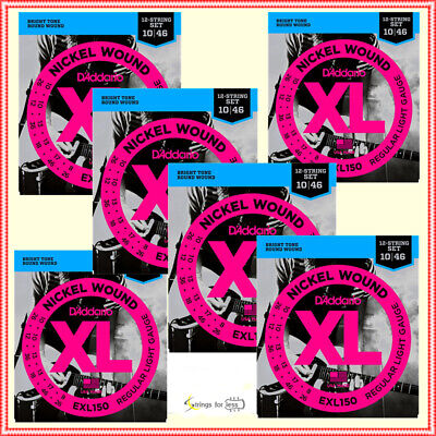 6 X D'Addario EXL150 Light 12-String Electric Guitar Strings 10 - 46 , 6 Sets • 47.52£