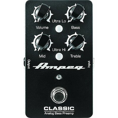 Ampeg Classic Analog Bass Guitar Preamp True Bypass 3-Band Tone Controls Pedal • 105.01£