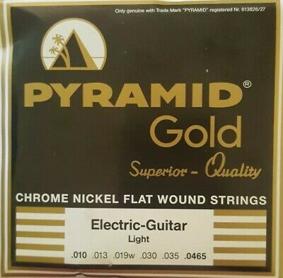 Pyramid Gold Chrome Nickel Flat wound Light Electric Guitar Strings 10-465