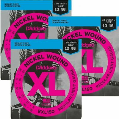 3 Sets D'Addario EXL150 Nickel Wound  12-String Electric Guitar Strings 10 - 46  • 29.04£