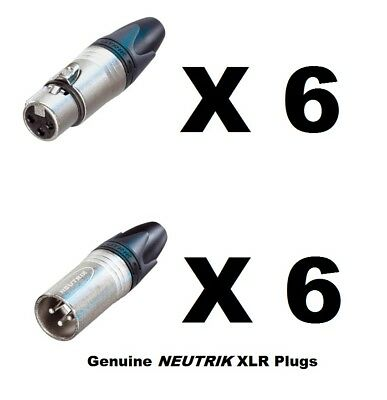 Lot Of 12 (6 Each) New GENUINE NEUTRIK NC3FXX & NC3MXX XLR Connectors Ships FREE • 25.25£