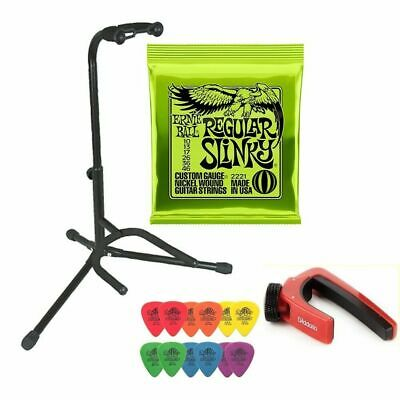 Electric Guitar Pack Stand Ernie Ball 2221 Strings 12 Mixed Tortex Picks Capo • 29.79£