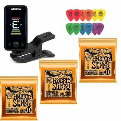 Planet Waves Clip-On Tuner 3 X Ernie Ball 2222 Electric Strings 12 Tortex Picks • 32.58£