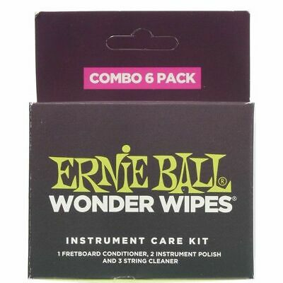 Ernie Ball Wonder Wipes Combo 6 Pack Fretboarc Cond, String Cleaner And Polish • 5.88£