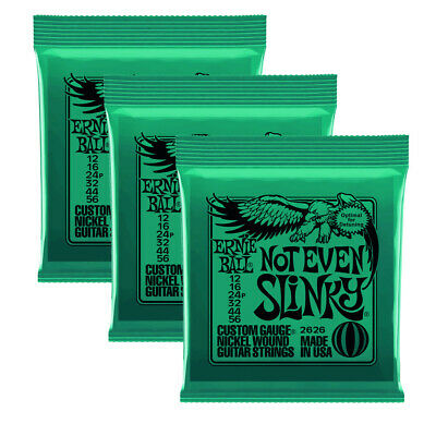 3 X Ernie Ball Not Even Slinky Nickel Wound Set, Electric Guitar Strings 12-56 • 21.78£
