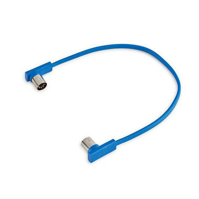 RockBoard Flat MIDI Patch Cable, 12 Inches, Blue, Right-Angle to Right-Angle