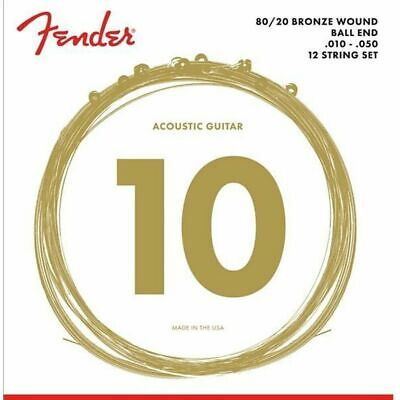 Fender Acoustic Guitar Strings - 12-String 80/20 Bronze - .010-.050 - 70-12L • 12.65£