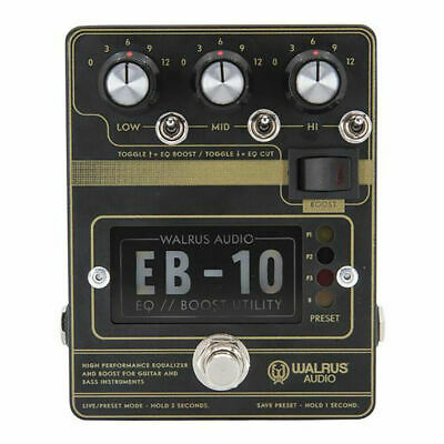Walrus Audio EB-10 EQ / Boost Utility Guitar Effects Pedal, Matte Black • 196.62£