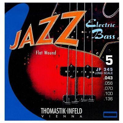 Thomastik-Infeld JF345 Jazz Nickel Flat Wound 5-String Bass Guitar Stings 43-136 • 93.34£
