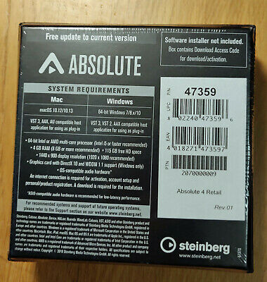 Steinberg Absolute 4, Genuine Download License, New, Unregistered • 324.99£