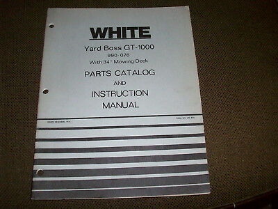 White GT-1000 Yard Boss Lawn Tractor & 34  Mower Deck Operator's Manual & PC • 9.16£