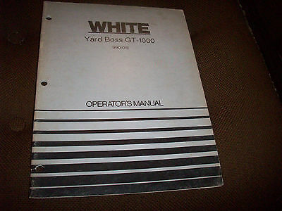 1973 White Yard Boss GT-1000 Lawn Tractor Operator's Manual • 10.57£