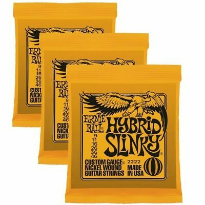 3 X  Ernie Ball Hybrid Slinky  2222   .009 - .046  Electric Guitar Strings • 20.99£