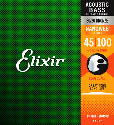 Elixir Nanoweb 14502 Light Long Scale Acoustic Bass Guitar Strings 45 - 100 • 48.92£