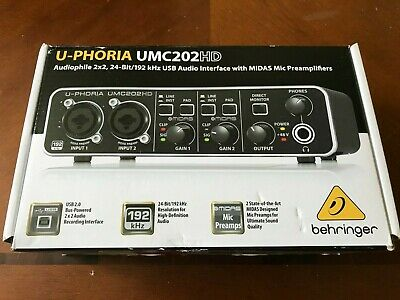 BEHRINGER U-PHORIA UMC202HD, 2-Channel Retail Packing Fast Free Shipping • 150.07£