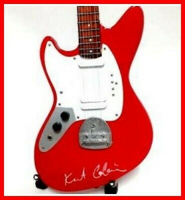 KURT COBAIN GUITARE MINIATURE! NIRVANA Fender Jaguar Rouge Signature Rock Grunge • 16.13£
