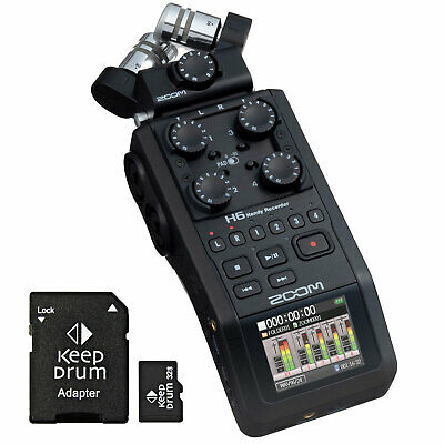Zoom H6 Black Mobile Recorder Dictaphone + Keepdrum Micro SDHC Memory Card 32 GB • 394.44£