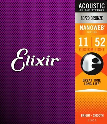 Elixir 11027 80/20 Bronze Nanoweb Acoustic, Custom Light, 11-52 • 12.95£