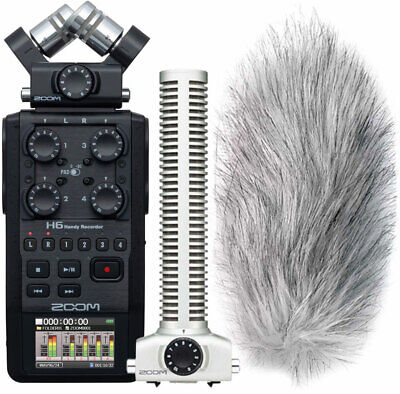 Zoom H6 Black Recorder+SGH-6 Microphone+Keepdrum Ws-Wh Wind Protection • 508.21£