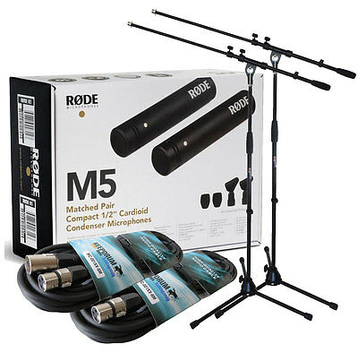 Rode M5 Mp Stereo Mikrofon-Paar + 2x Keep Drum Tripod+2x Cable • 205.18£
