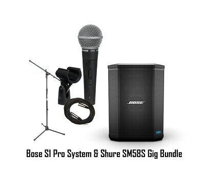 Bose S1 Pro Acoustic Busking Portable PA System W/ Shure SM58S + Mic Stand+Cable • 477.56£