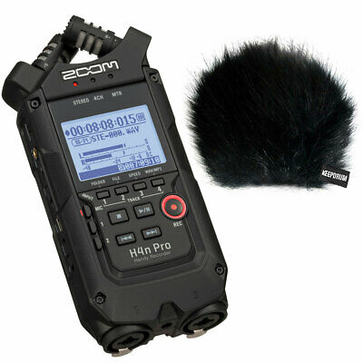 Zoom H4n Pro Black Recorder Dictaphone + Keepdrum Fur Wind Protection • 252.16£