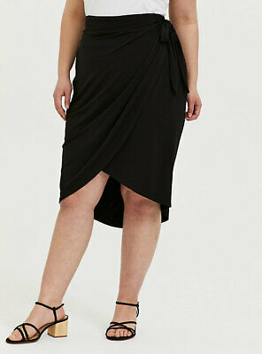 Torrid Size 2 2X Black Woven Wrap Midi Pencil Studio Solid Plus Women's New  • 26.51£