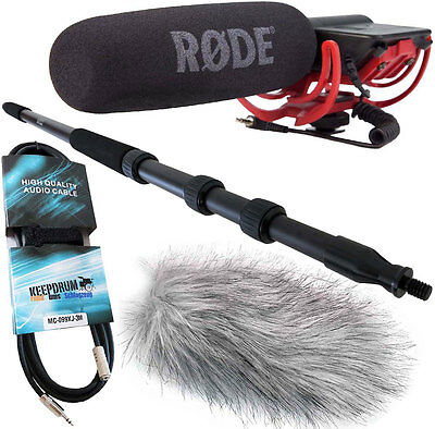 Rode Videomic Rycote + Keepdrum Boompole MPB01+Windprotector+Cable • 144.11£