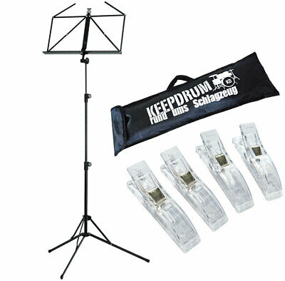 K&M 100/5 Music Stand Black + Keepdrum Bag +4 Notenklammern • 25.90£