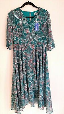 Lily Ella Size 10 Turquoise And Pink Paisley Pattern Dress BNWT  • 15£
