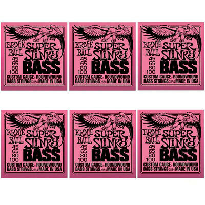 6-Pack Ernie Ball 2834 Super Slinky Bass Nickel Wound Bass Strings (.045-.100) • 65.70£