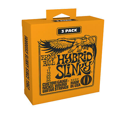3 Pack Sets Ernie Ball 2222 Hybrid Slinky Electric Guitar Strings 9-46 3222 • 11.01£