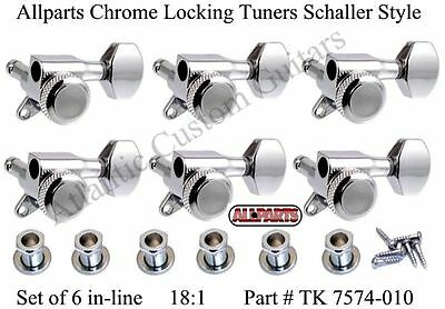 New Allparts 6 In Line Chrome LOCKING TUNERS for Fender Strat & Tele 18:1
