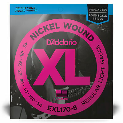 D'Addario EXL170-8 Nickel Wound 8-String Long Scale Light Bass Strings (32-130) • 22.27£