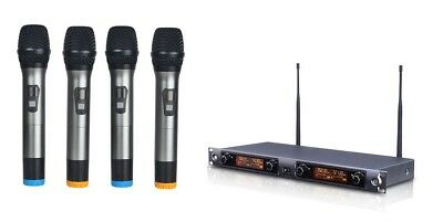 UHF 4 Four-Channel Professional Wireless Cordless Microphone Mic System • 159.05£