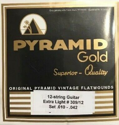 Pyramid Gold Flatwound 12 String 10-42 Guitar Strings Set Flat Wound.