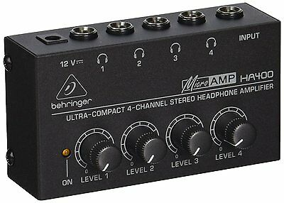 Behringer HA400 Microamp 4 Channel Stereo Headphone Amplifier • 48.76£