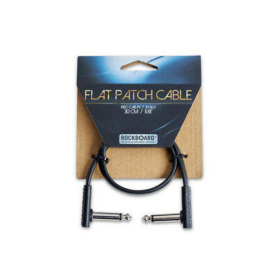 RockBoard 1/4'' Flat Patch Cable, 12 inch, Black, Right-Angle to Right-Angle