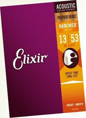 Elixir Nanoweb Phosphor Bronze Acoustic Guitar Strings - HD Light (0.013-0.053) • 26.97£
