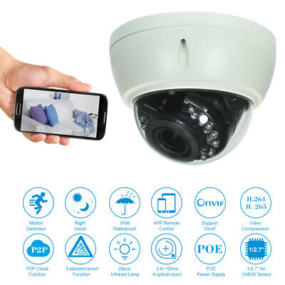 5MP (4MP/1080P/1440P/1520P) Dome POE IP Camera 2.8-12mm 4X Manual Zoom Lens T7H6 • 36.19£